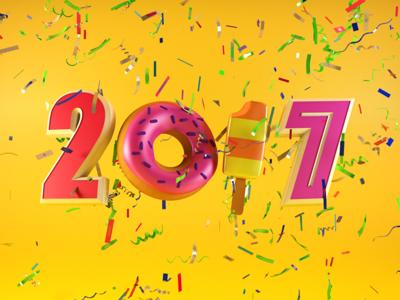 Type Tues - Happy 2017 Everyone! design digital typography type typetuesday cr6 cinema4d blocks 3d