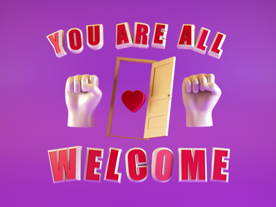 Type Tues - You Are All Welcome design digital typography type typetuesday cr6 cinema4d blocks 3d