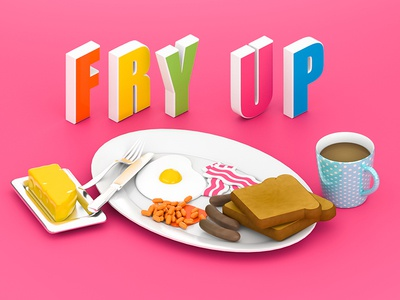 Fry Up - Titles food isometric eggs digital design cr6 cinema4d blocks 3d