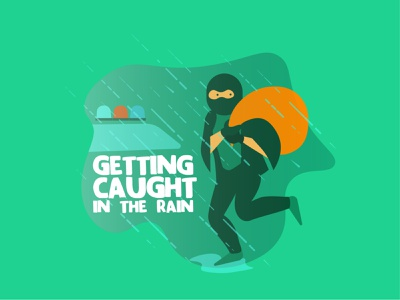 And Getting Caught in the Rain? sticker design punny rain sticker