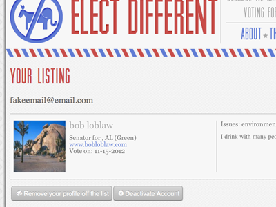Elect Different profile page web design