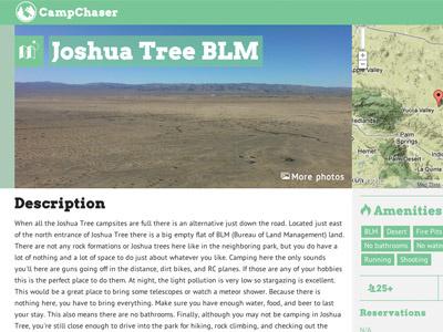 CampChaser Redesign web design green redesign