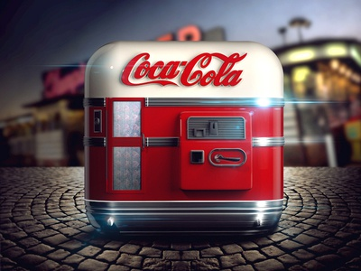 Coke Machine iOS Icon illustration ipad interface mobile appstore icons ui coca cola reflections russia moscow app icon highlight shadow light buttons cola coke drink graphicdesign artwork vector details texture glass design app icon iphone ios
