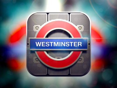 London Underground iOS Icon ios iphone icon app design glass texture details vector artwork graphicdesign metro underground london westminster light shadow highlight app icon moscow russia reflections colors ui icons appstore mobile interface ipad illustration