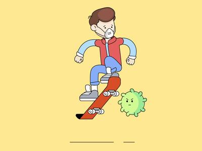 Pandemic animation virus illustration design covid19 skateboard ride character animation character illustration