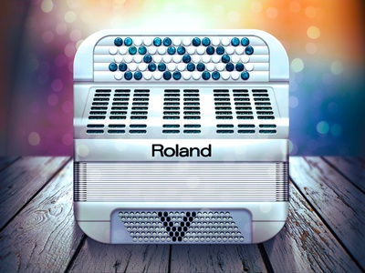 roland iOS Icon ios icon app music button accordion light shadow design moscow russia texture