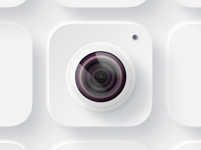 Camera iOS icon (skeuomorphism + neumorphism) glare camera lens glass neumorphism skeuomorphism vector branding logo design illustration icon ux ios ui app
