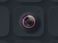 Camera iOS icon Dark leica camera photo lens application branding logo design illustration social iphone app ux uiux ui icon ios app ios glare