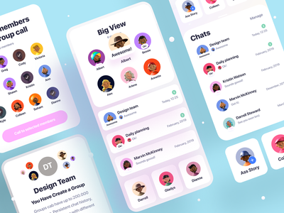 Clean Chat App (Available on Creative Market) notification story feed profile messenger app buble chat message imessage messenger whatsapp facebook social iphone branding logo ux ui app
