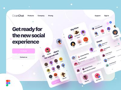 Clean Chat App Landing (Available on Creative Market) landing page telegram facebook whatsapp messenger message chat web design profile website landing web ux ios ui app