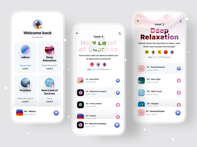 Relaxation App (White Theme) calm relaxaton relax yoga typography illustration cover social profile cards ux ios ui app