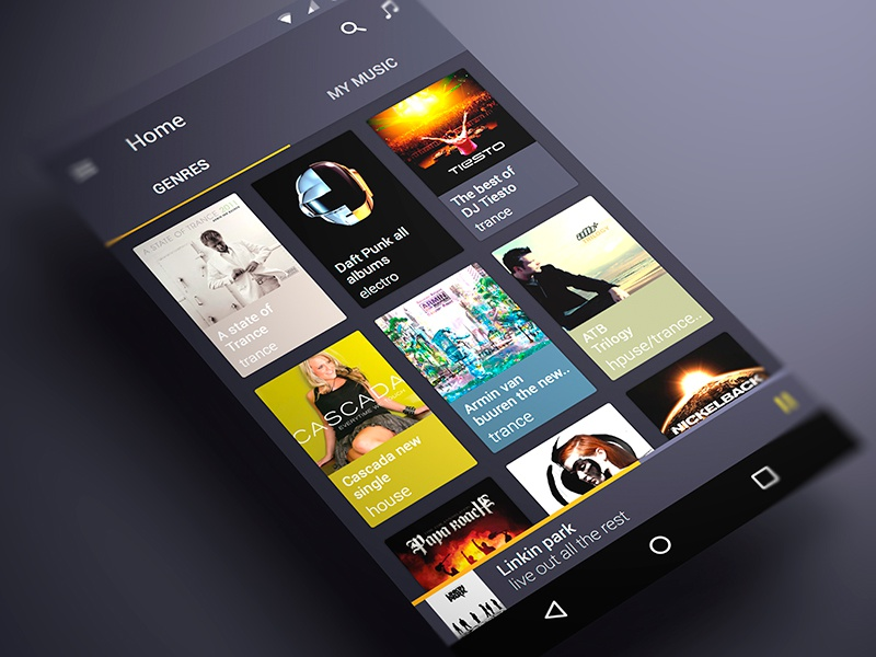 Android music App Material design android music app ui material ux player material design