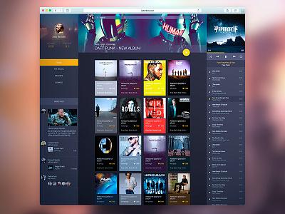 Music Web sidebar material design user web music profile ui material news player playlist