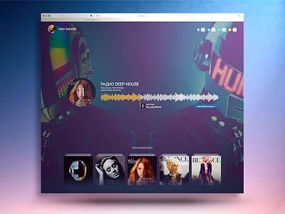 Web User Radio playlist player news material ui profile music web radio material design sidebar