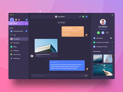 Desktop Messenger select user comment popup notification add icon profile side menu side bar menu sidemenu space photo text bubble chat messenger ui app