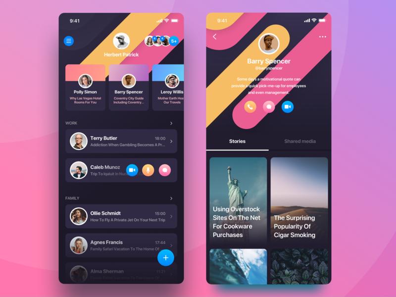 Rainbow Messenger unread storys profile card social cards profile cover iphone icon ux ios ui app