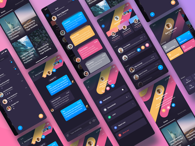 Rainbow Messenger flow ux iphone settings side menu color messenger chat sidebar menu sidebar rainbow story social profile cards ui ios app