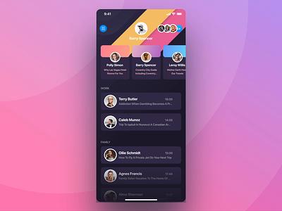 Rainbow Messenger Animation navigation side menu sidebar user avatar group chat bubble message unread ux profile cards ios ui app