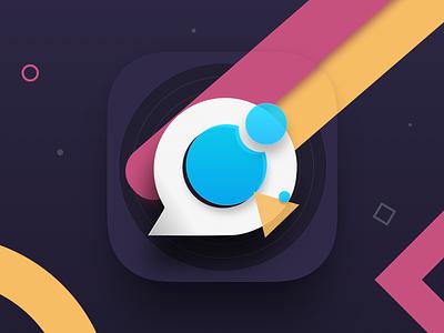 Rainbow iOS icon line bubble messenger message chat logo illustration icon ux ios ui app