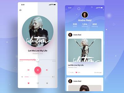 Music Player social profile cards web vector minimal logo inteface flat design branding icon ux ios ui app