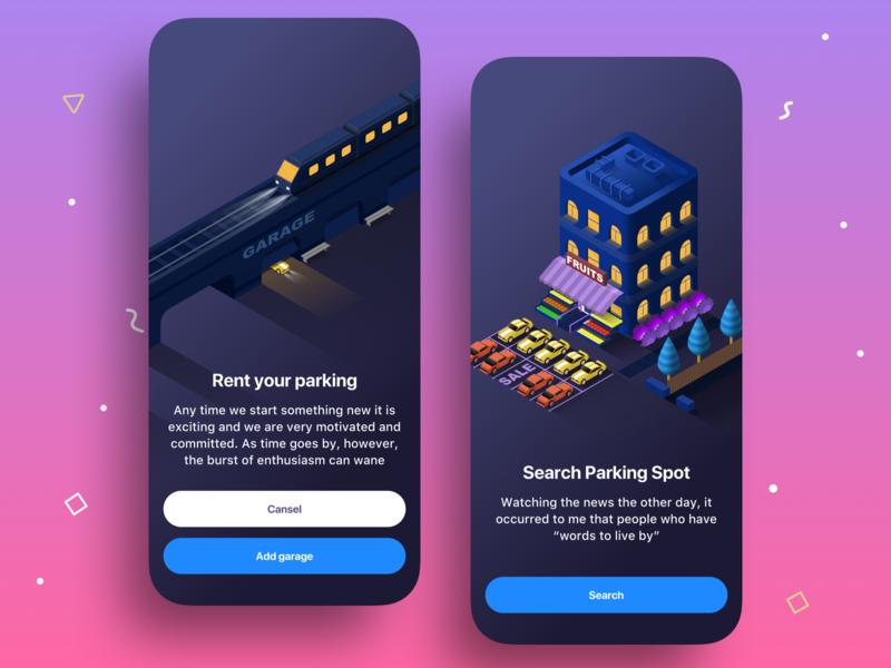 Skooby App rent pattern garage train house sell spot parking social finance profile cards icon ux ios ui app