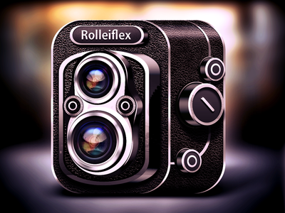 Rolleiflex Camera Icon ios icon reflections lights shadows logo photo camera lens glare retro vector mobile iphone app ui flare ipad