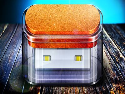 Usb Flash Drive Icon ios icon reflections modern lights shadows usb flash drive hdd texture cork glass moscow russia flare highlight ipad app mobile iphone ui vector