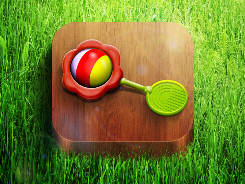 iOS rattle icon moscow russia flare highlight ios icon app kids ball wood rattle grass iphone ipad sun reflections lights shadows happy