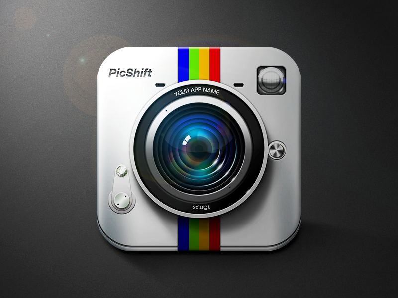 PicShift icon flare highlight russia moscow metal modern lens camera photo logo shadows lights reflections icon ios phone brand app ipad mobile vector ui