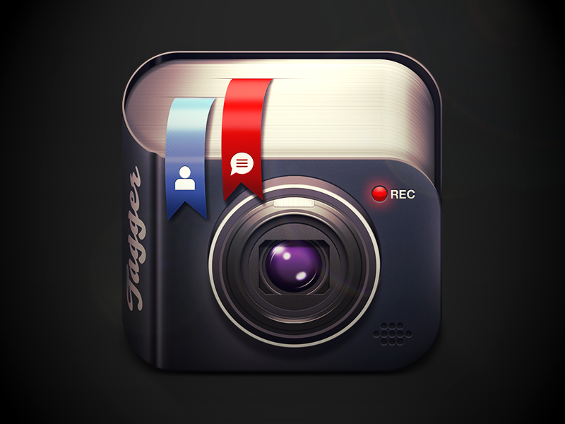 Tagger icon clickberry tagger video interactive tager moscow russia app highlight flare texture metal icon dark black shadow light iphone ios player play pause progress facebook like comment