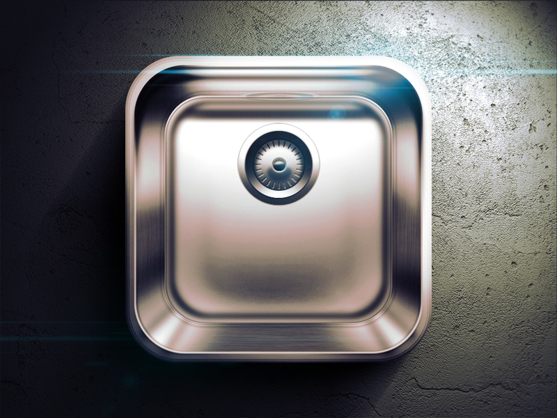 Kitchen Sink iOS icon ios iphone sink kitchen buttons light shadow black dark gray icon highlight app icon fun moscow russia reflections vector app ui ipad flare mobile illustration