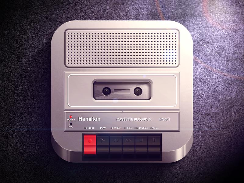 Cassette Recorder iOS icon ios iphone player cassette recorder hamilton buttons light shadow black dark gray icon highlight app icon fun moscow russia reflections retro speaker app ipad ui vector