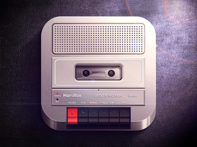 Cassette Recorder iOS icon ios iphone player cassette recorder hamilton buttons light shadow black dark gray icon highlight app icon fun moscow russia reflections retro speaker app ipad ui vector