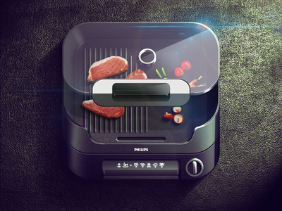 Grill iOS Icon icons illustration ipad appstore mobile ui interface ios iphone icon app design glass texture details vector artwork graphicdesign food grill meat buttons light shadow highlight app icon moscow russia reflections vegetables