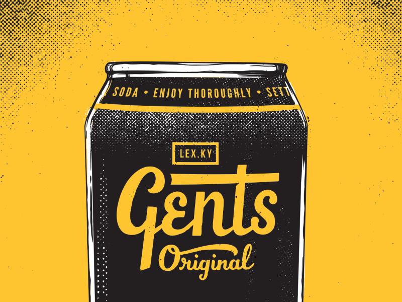 Gents half tone illustration pop art ginger soda kentucky gents