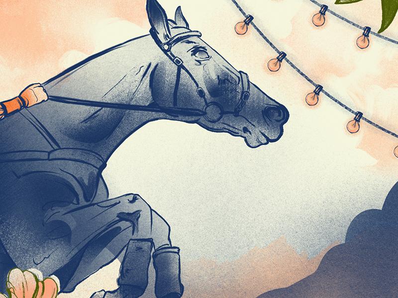 Steeplechase lightbulb jockey shade grain steeple chase high hope kentucky illustration painted horse
