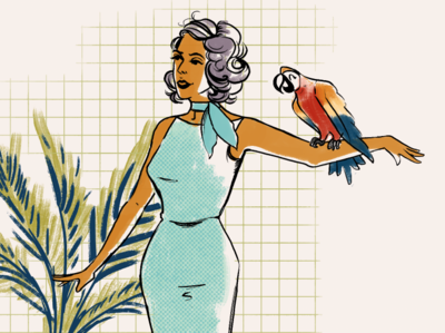 Vacation fashion dress parrot midcentury illustration drawing