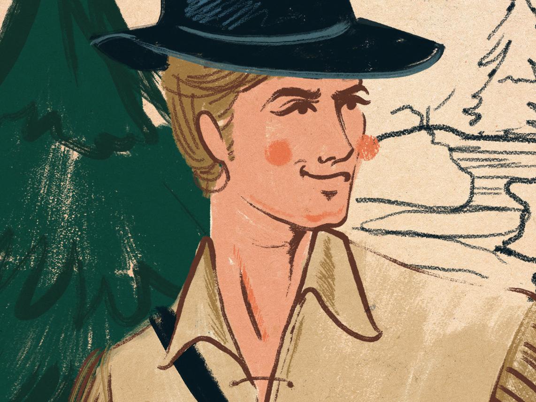 Daniel Boone retro illustration midcentury trees pioneer kentucky daniel boone