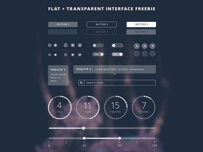 Freebie Friday | Flat Transparent UI Kit - .PSD link inside! psddd free freebie ui transparent flat vector monkee-boy buttons tooltip monotone