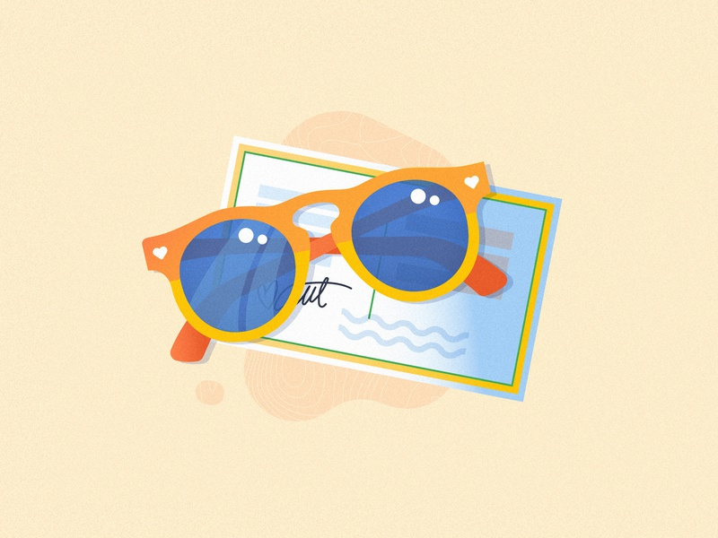 Travel Illustrations cute trip suitcase luggage camera compass map sunglasses postcard travel illustration