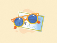 Travel Illustrations cute trip suitcase luggage camera compass map sunglasses postcard travel illustration