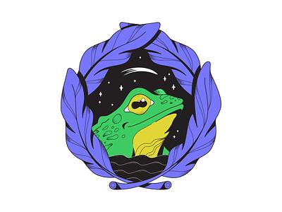 Midnight swamp charcter texture bull frog stars stipple vector illustration pond frog