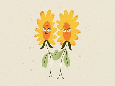 Summer Sunflowers card print organic friends flower sunflower character vector texture illustration