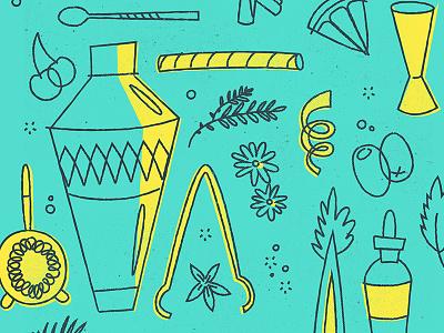 Summer Cocktail Series Illustrations handdrawn texture herbs citrus shaker illustration bar cocktails wine