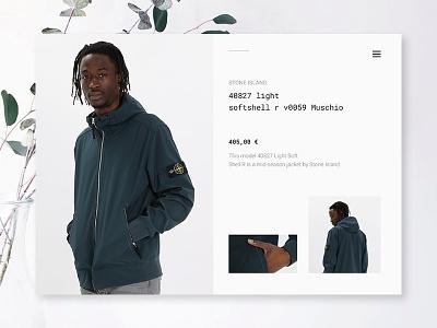 Stone Island Product Layout stone island ecommerce concept minimal fashion shop ui