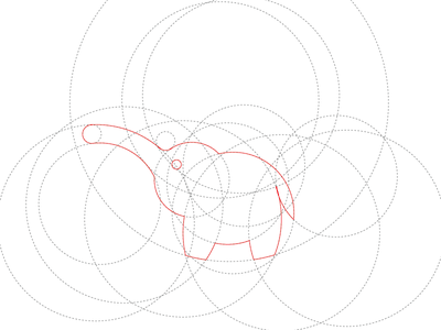 Making elephants with circles. golden ratio illustrator circles elephant wip logo