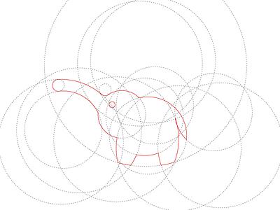 Making elephants with circles. golden ratio illustrator circles elephant wip logo