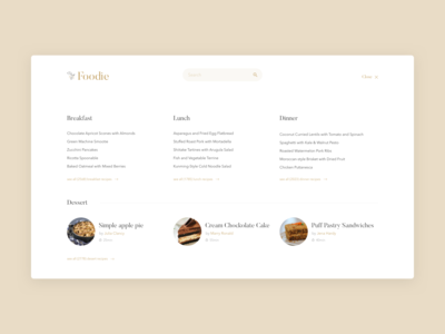 Food Recipes Blog Menu Concept