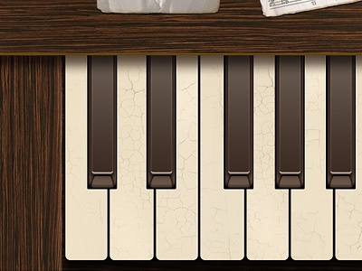 Ol'  Piano Keyboard blues skeuomorphic design vintage app touch music keyboard piano