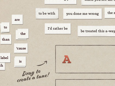 Drag paper cuts and write your own lyrics drag aap blues skeuomorphic app touch table